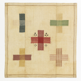 Handkerchief embroidered with five darning crosses on sheer linen. The initials FR and HW surmonted by two crowns, and the date 1800 are worked in black silk; the crosses in green, yellow, cream and red.