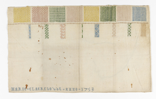 "Rectangular shape.  Top edge filled by eight squares each with a different pattern which may be woven on a four-harness loom.  Yellow, rust, green and blue on a natural ground.  Also eight different patterns along the right hand margin of each square that are unfinished.  At bottom: ""Marie Claerejo ANNO 1753."""