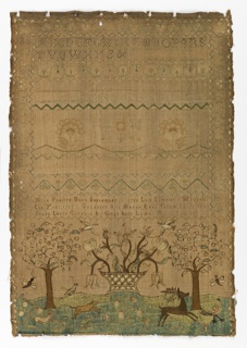 Bands of alphabets are followed by floral vine borders and the inscription:  Alice Pearlee Born September (?) 1745  This sampler I wrought the year 1759 Goodness and mercy ever follow those who share there ...(?) by God's holy laws  The lower section shows a basket of flowers flanked by trees, deer and other animals.