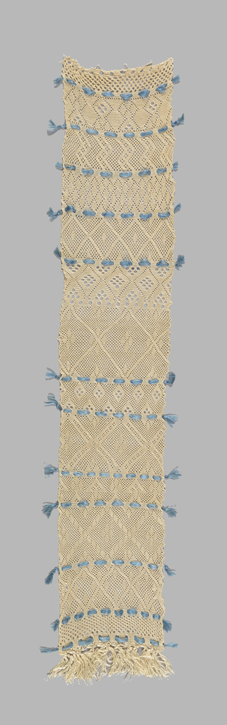 One end of a piece of sprang with thirteen different patterns.  Blue silk threaded through decorative holes divides the patterns.