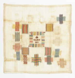 Twenty-one darning squares.  Decorative insert patch in the center.  The letters I C L H C F and the date under a crown.