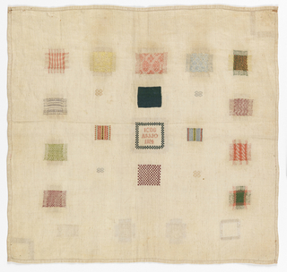Fourteen squares of pattern darning, a square of simulated knitting, two insert patches, one with initials and date, two inset corners, and small squares of decorative stitchery.