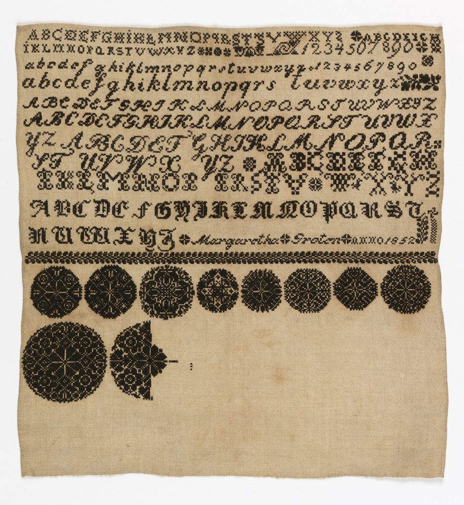 Black silk on natural linen.  Alphabets and numerals on top.  Lower section (unfinished) pattern circles.