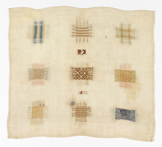 Nine darning squares with initials and date in the center.  One square simulates knitting.