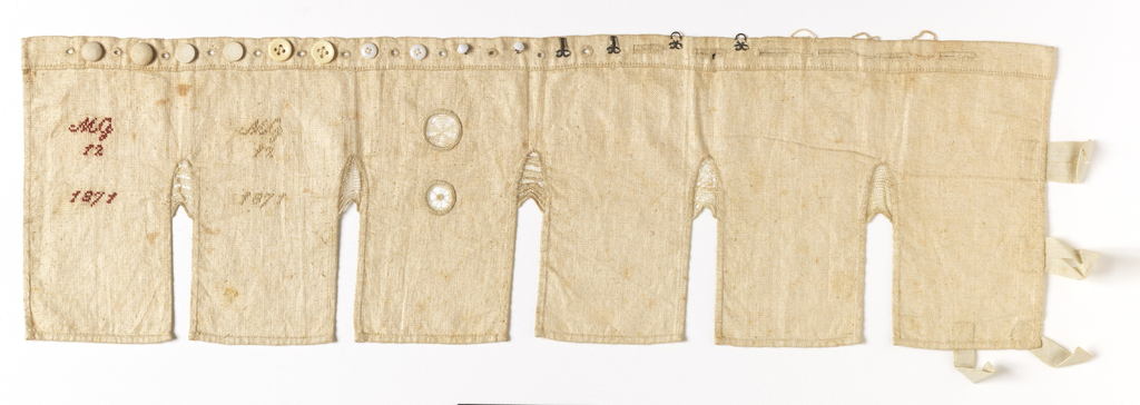 A plain sewing sampler with five plackets with needle lace fillings, with the inscription MG 12 1871 in both red and white.  Across the top, a row of buttons, buttonholes, hooks and eyes, and thread loops.