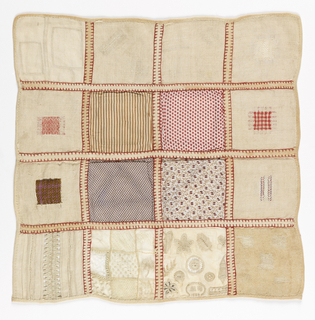 Sixteen squares of darning, patches, and white work embroidery held together with woven tape.