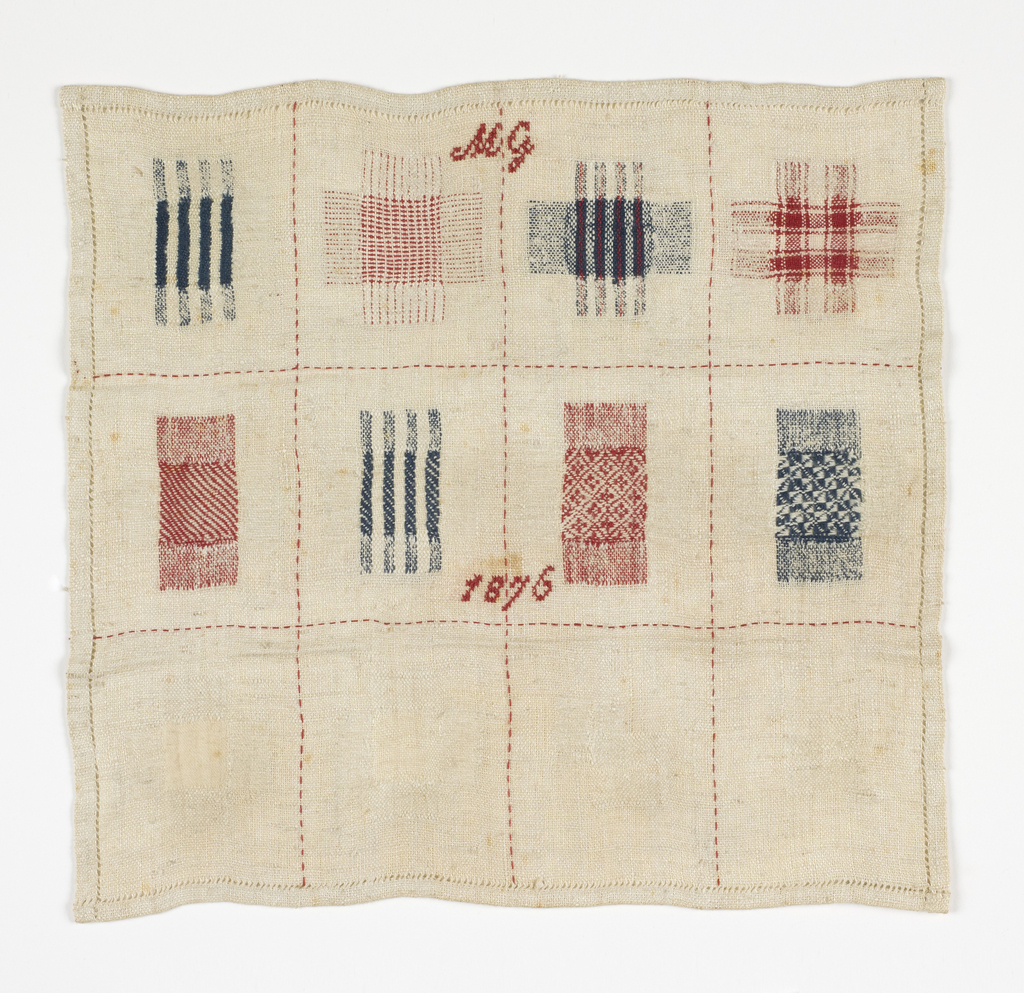 Twelve squares of pattern darning in red, white, and blue.