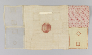 Five examples of darning and patches on different foundation cloths sewn together to make one sampler.