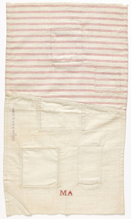 "Two pieces of fabric, one muslin and one red and white striped twill, stitched together at an angle. From them, five square holes have been cut and patched, plus one corner. Embroidered in red with the initials M.A. ""Flicktuch D.R.G.M. 271465"" is printed on front. Label in German sewn to back."