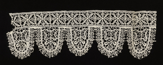 Fragment of a geometric lace band with oval tab edge.