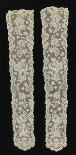 Pair of bobbin lace lappets. Floral pattern