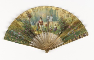 Pleated fan. Painted and gilded paper leaf. Obverse: garden scene of a woman and young girl painting. Ends decorated with designs in gold and colors on green ground. Reverse: scene of three women fishing by a stream. Gilt bronze guards and sticks, guards with oval enamel plaques and cut steel. Amethyst paste rivet head. In plain white satin covered box.