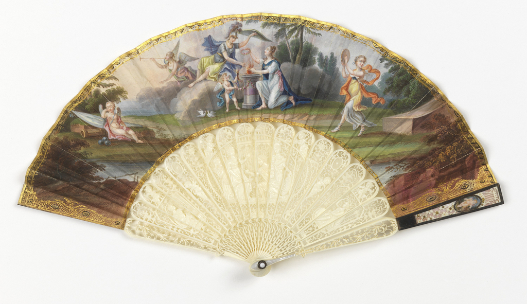 Pleated fan. Leaf of painted paper backed with parchment. Obverse: an allegorical scene depicting a hero returning from war. Reverse: foliage sprays in gilt. Sticks of carved and pierced ivory, guards decorated with mother-of-pearl, silver, and metallic spangles. Rivet is set with an opaque white stone.