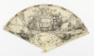 Pleated fan. Off-white parchment leaf with scenes drawn in black ink. Obverse: the image probably depicts King Phineas harassed by the harpies with the winged Argonauts aattempting to defend the king from the attack. The gorge is painted with rococo ornament. Reverse: a drawing of Rome indicating points of architectural interest; the reverse gorge is not painted. Incised ivory stick with black paint. Metal at rivet.