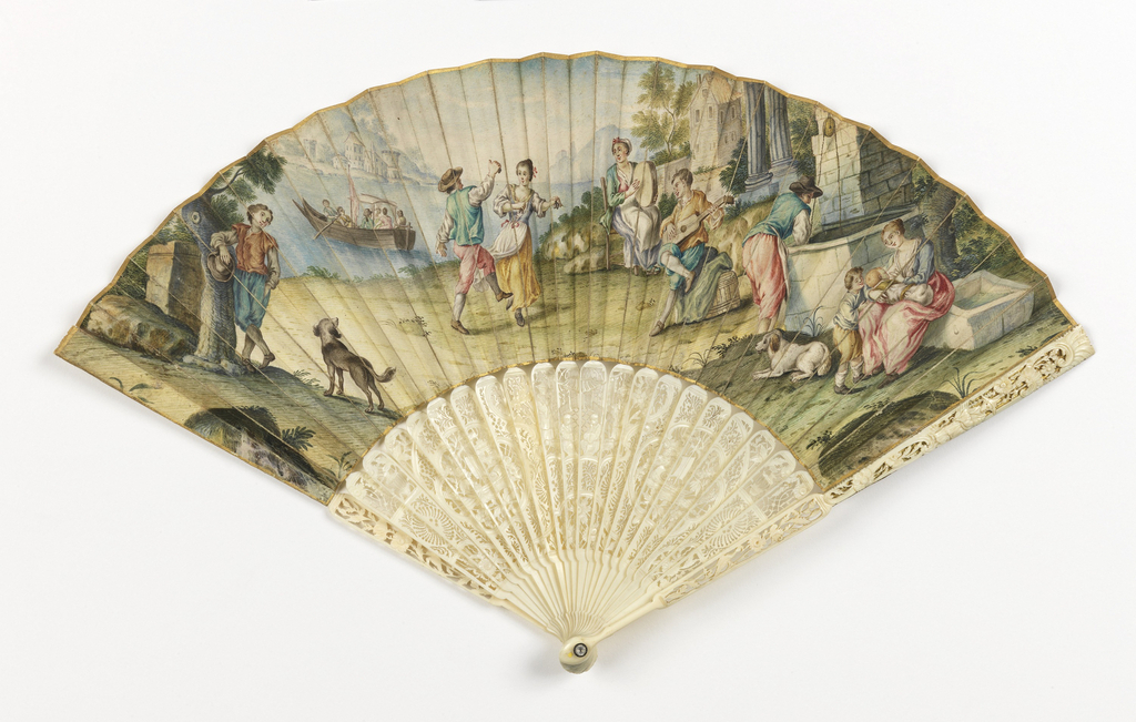 Pleated fan. Front and back leaves of painted parchment showing Italian pastoral scenes. Sticks of carved and pierced ivory; glass stone at the rivet