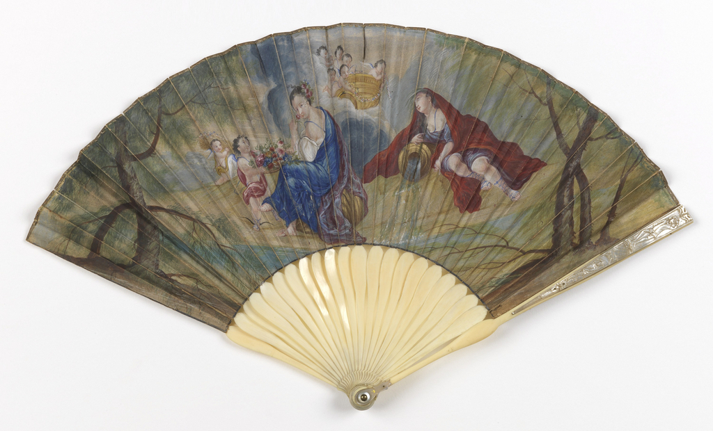 Pleated fan. Painted paper leaf. Obverse: mythological scene with Flora, the Roman goddess of flowers and of the spring, at the center. She is presented with baskets of flowers, watered by a stream of running water personified by the figure at the right. Reverse: an enlarged image of the spring flowers received by Flora. Carved ivory sticks with mother-of-pearl inlays on the guards. Mother-of-pearl thumb guard and washer at the rivet.