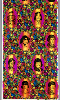 The subject is images of boys from the artist's high school yearbook perceived to be bullies.  The portraits are displayed in decorative oval frames and surrounded by flowers on an irisé or rainbow ground.  Printed in fluorescent inks and black rayon flock.