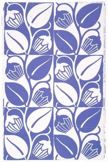A highly stylized tulip design in alternating squares. One square consists of blue tulips and leaves on white field; the same design with color arrangement reversed is in opposite square. Printed for Nancy McClelland of New York City.