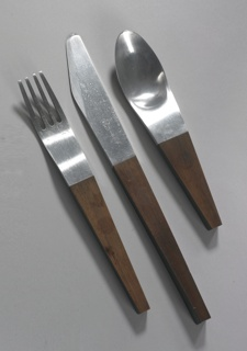 Fork: the aluminum  four tines with tapered rectangular wood stem, the widest point at the connection to the aluminum. Spoon:the diagonally cut knife blade with tapered rectangular wood stem, the widest point at the connection to the aluminum. Knife:the diagonally cut knife blade with tapered rectangular wood stem, the widest point at the connection to the aluminum.