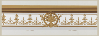 Frieze of upper border for panels, made to connect with pilaster capital. Larger version of brown foliate scroll motifs of dado. Also has large foliate roundels at intervals. Gray bands to indicate shadows. Heavy brown molding along top, on off-white ground.