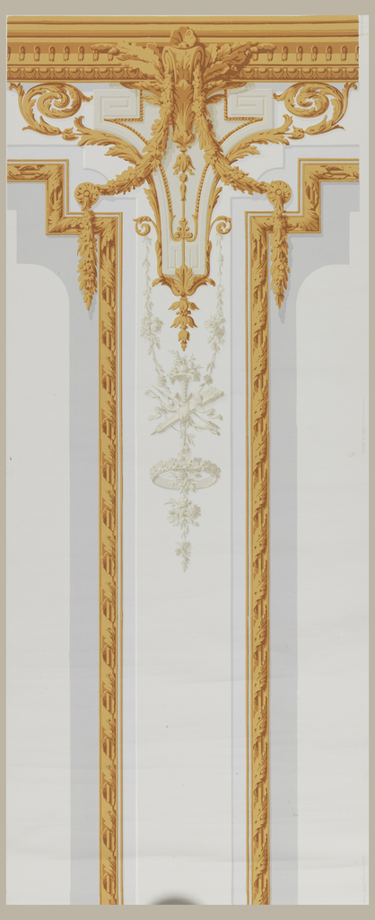 High pilaster in gray and off-white with grisaille trophies and decorations bordered by molding strips of brownish-yellow and further ornamented with leafy arabesques and festoons in the same color, on off-white ground.