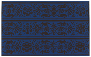Stylized floral and foliate motifs. Printed in black on deep blue ground. Printed three across.