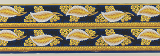 Printed two across, large-scale feather-like leaf, surrounded by yellow flowers, with architectural acanthus band at bottom edge. Printed on deep blue ground.