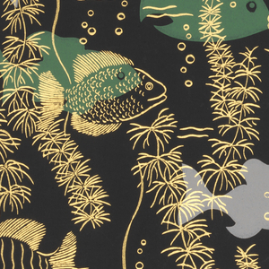 Bathroom paper. Red, green, blue, and metallic gold fish and metallic gold bubbles and plants on a black ground.