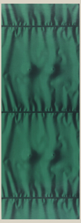 All-over pattern of trompe l'oeil drapery, with horizontal pleats and gathers. In the center between the pleats is the impression of two breasts. Dark green in color.