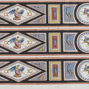 Pompeian-style motifs within medallions, printed three borders across the width. A diamond-shape medallion containing a seated winged figure alternates with a round medallion containing a winged horse or griffon. Between each of these motifs is a small urn in a rectangular framework. Printed in colors on a white ground.