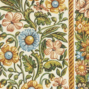 Floral border printed two across. Printed in colors on cream-colored paper.