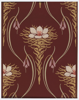 Stylized Art Nouveau flowers printed on hand brushed burgundy ground.