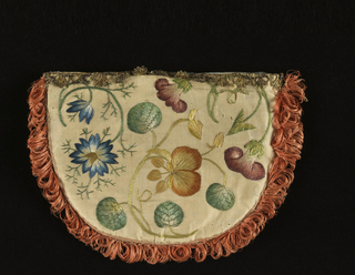 Silk bag with embroidered flowers in blue, green, purple and yellow; backed with brocade in blue, green and cream color; lined with blue and trimmed with narrow metal lace and salmon colored straw.