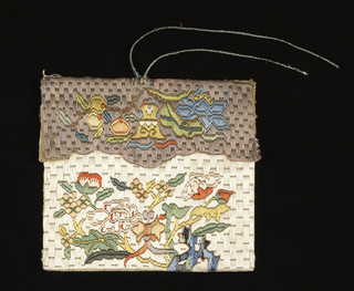 One side of a bag, embroidered in colored silks and metal thread in a floral design on a white ground; lined with green and white silk and fitted with a blue and white knotted cord