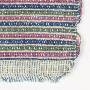 Narrow horizontal stripes of green, pink, and blue, separated by single weft passes of white chenille yarn.  Warp alternates light blue and white. Hand-woven sample with top and bottom borders of plain weave white cotton.