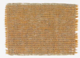 Hand-woven sample of wallcovering material with a narrow horizontal stripe of light brown cellophane strip alternating with wider strip of light orange paper.  Warp of undyed linen.