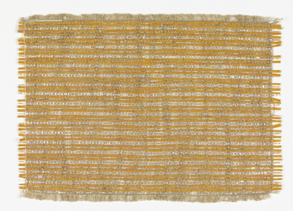 Hand-woven sample for a wallcovering material in narrow horizontal stripes of orange and white.  The warp is undyed linen; the weft alternates two light orange twisted paper strips with one strip of white cellophane.