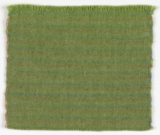 Hand-woven sample with subtle narrow horizontal stripes of tan, light orange, light blue and green. The warp is green.