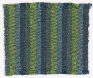 Warp-face plain weave with vertical stripes of dark blue, light blue, apple green and spruce green; weft of spruce green.
