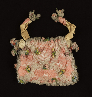 Flat square bag with drawstring top of white silk bobbin lace lined with rose silk plain weave. Trimmed with white silk bobbin lace and flowers made of silk thread, painted paper, silk ribbons and wire. Tan ribbon drawstring.
