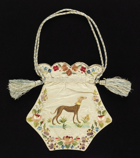 Ladies' bag of white moiré silk embroidered in colored silks. Shape is five-sided, flat, with a scalloped top. Borders of flower wreaths. Embroidered on one side with a greyhound and with a long-tailed bird on the other. Worked as two separate panels, joined. Lined in pale blue taffeta. Blue and white silk cord.