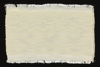 """Handwoven sample for plain-weave cloth with white silk warp and weft of undyed wool. The wool is hand-spun with great variation in thickness, giving a """"slubbed"""" quality to the fabric.  Narrow band at top and bottom of plain weave with undyed cotton weft."""