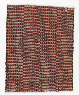 Handwoven sample with vertical bands of tweed textures. The warp is of burgundy, bright pink, light pink, and light gray-green yarns; the weft of heavy dark brown hemp.