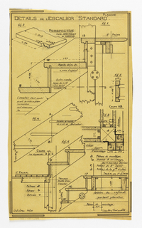 Design for a mass-operational house by Guimard, detailing the staircase construction.