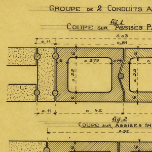Design for a mass-operational house by Guimard, detailing the smoke duct of the chimney.