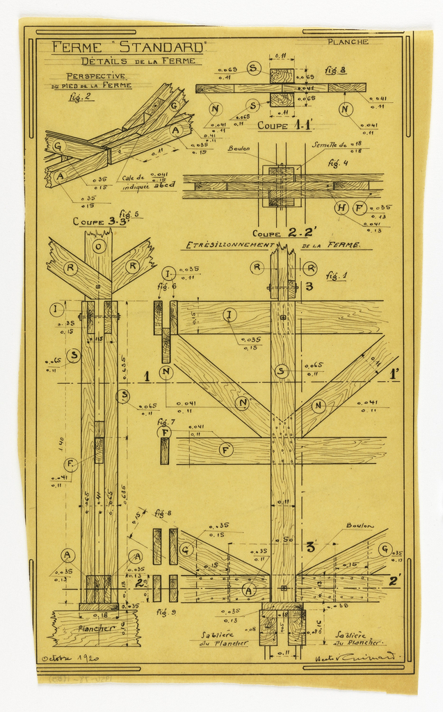 Design for a mass-operational house by Guimard, detailing support construction.
