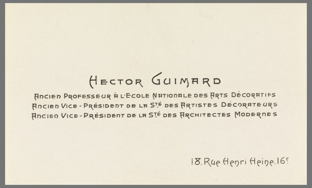 Card, Business Card of Hector Guimard, early 20th century | Objects ...