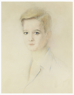 A three-quarter portrait of a woman facing left with cropped blonde hair and a collared shirt.