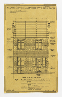 Design for a mass-operational house by Guimard. This design depicts the elevation of the facade facing the garden