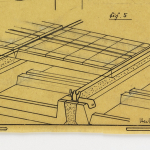 Design for a mass-operational house by Guimard, detailing construction for supports